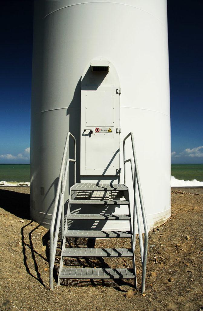 Detail of wind turbine entrance Pagudpud